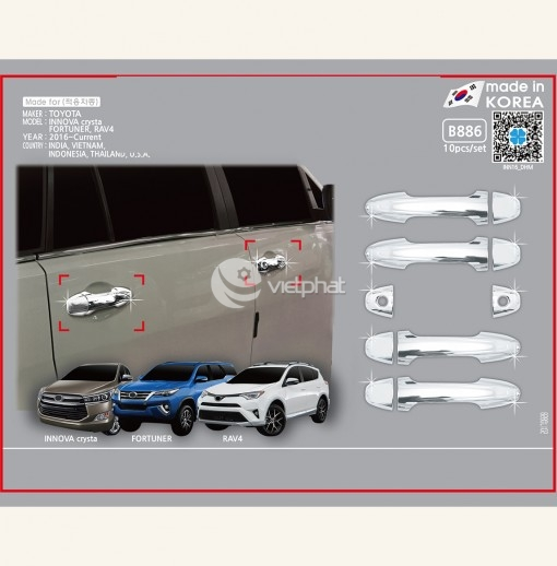 Ốp tay cửa xe Toyota Innova  2016 nhập khẩu chính hãng